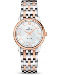 Omega De Ville  Quartz Women's Watch, Steel & 18K Rose Gold, Mother Of Pearl Dial, 424.20.27.60.05.002