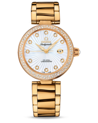 Omega De Ville Ladymatic  Automatic Women's Watch, 18K Yellow Gold, Mother Of Pearl & Diamonds Dial, 425.65.34.20.55.004