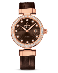 Omega De Ville Ladymatic  Automatic Women's Watch, 18K Rose Gold, Brown & Diamonds Dial, 425.68.34.20.63.002