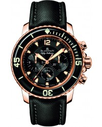 Blancpain Fifty Fathoms  Chronograph Flyback Men's Watch, 18K Rose Gold, Black Dial, 5085F-3630-52B