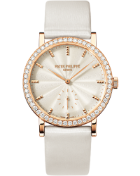 Patek Philippe Calatrava  Mechanical Women's Watch, 18K Rose Gold, Cream & Diamonds Dial, 7120R-001