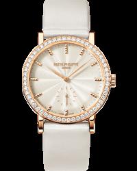 Patek Philippe Calatrava  Mechanical Women's Watch, 18K Rose Gold, Cream & Diamonds Dial, 7120R-001