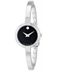 Movado Bela  Quartz Women's Watch, Stainless Steel, Black Dial, 606595