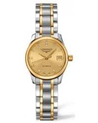 Longines Master  Automatic Women's Watch, Steel & 18K Yellow Gold, Gold Dial, L2.128.5.37.7