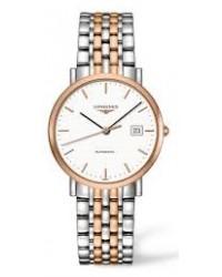 Longines Elegant  Automatic Unisex Watch, Steel & 18K Rose Gold, White Dial, L4.810.5.12.7