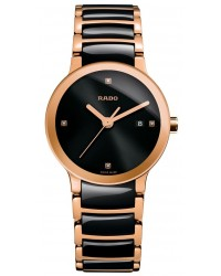 Rado Centrix  Quartz Women's Watch, 18k Rose Gold Plated, Black & Diamonds Dial, R30555712