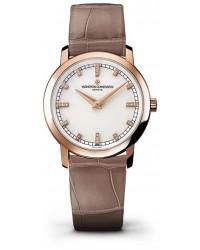 Vacheron Constantin Patrimony Traditionnelle  Quartz Women's Watch, 18K Rose Gold, White & Diamonds Dial, 25155/000R-9585