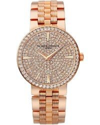 Vacheron Constantin Patrimony Traditionnelle  Quartz Women's Watch, 18K Rose Gold, Diamond Pave Dial, 25556/Q01R-9281