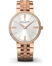 Vacheron Constantin Patrimony Traditionnelle  Manual Winding Women's Watch, 18K Rose Gold, Silver & Diamonds Dial, 81577/V01R-9271