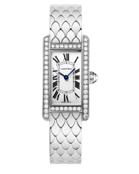 Cartier Tank Americaine  Quartz Women's Watch, 18K White Gold, Silver Dial, WB710009