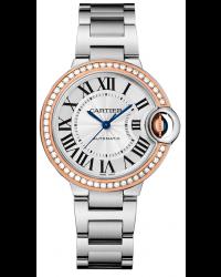 Cartier Ballon Bleu  Automatic Women's Watch, Steel & 18K Rose Gold, Silver Dial, WE902080