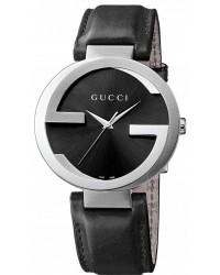 Gucci Interlocking  Quartz Men's Watch, Stainless Steel, Black Dial, YA133205