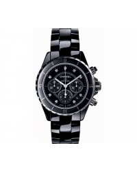 Chanel J12 Jewelry  Chronograph Automatic Women's Watch, Ceramic, Black & Diamonds Dial, H2419