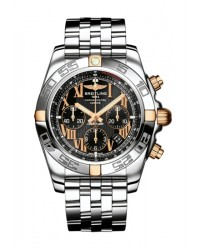 Breitling Chronomat 44  Chronograph Automatic Men's Watch, 18K Rose Gold, Black Dial, IB011012.B957.375A