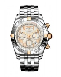 Breitling Chronomat 44  Chronograph Automatic Men's Watch, 18K Rose Gold, Silver Dial, IB011012.G677.375A