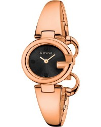Gucci Guccissima  Quartz Women's Watch, Rose Gold Tone, Black Dial, YA134509