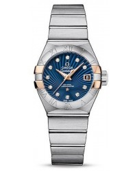 Omega Constellation  Automatic Women's Watch, Steel & 18K Rose Gold, Blue & Diamonds Dial, 123.20.27.20.53.002