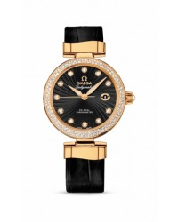 Omega De Ville Ladymatic  Automatic Women's Watch, 18K Yellow Gold, Black & Diamonds Dial, 425.68.34.20.51.002