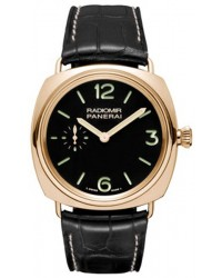Panerai Radiomir  Mechanical Men's Watch, 18K Rose Gold, Black Dial, PAM00378