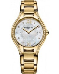Raymond Weil Noemia  Quartz Women's Watch, Gold Plated, Mother Of Pearl & Diamonds Dial, 5132-PS-00985