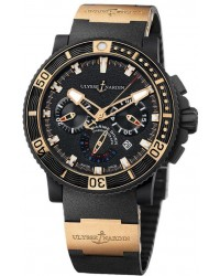 Ulysse Nardin Maxi Marine Diver  Automatic Men's Watch, Rubber & Stainless Steel, Black Dial, 353-90-3
