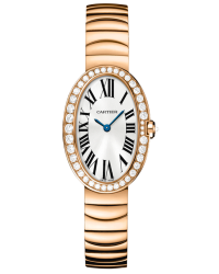 Cartier Baignoire  Quartz Women's Watch, 18K Rose Gold, Silver Dial, WB520002