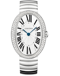 Cartier Baignoire  Quartz Women's Watch, 18K White Gold, Silver Dial, WB520010