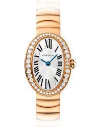 Cartier Baignoire  Quartz Women's Watch, 18K Rose Gold, Silver Dial, WB520026